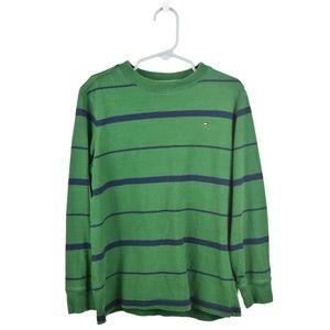 Tommy Hilfiger Green & Blue Cotton Striped T-Shirt